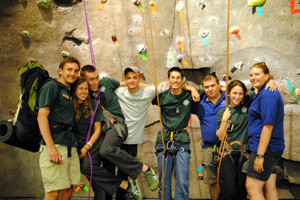 students at climbing wall