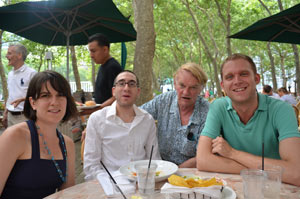 photo of Wright State MoPix alumni Stephanie Bencin, Ben Garcher, Stu McDowell and John Sylva,   New York, Summer, 2012