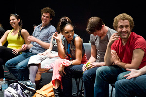 photo of theatre students laughing