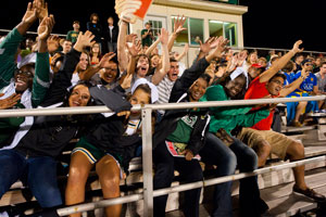 photo of students at homecoming soccer game