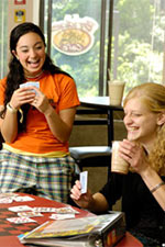 photo of two students in honors housing
