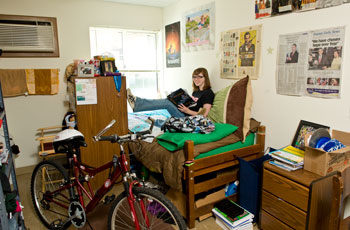 Photo of Student in their dorm room