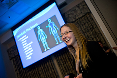 photo of a student making a presentation