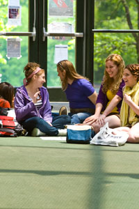 Photo of students on a tour in the Fine Arts Building
