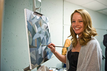 photo of a student painting