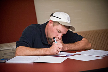 photo of a student writing