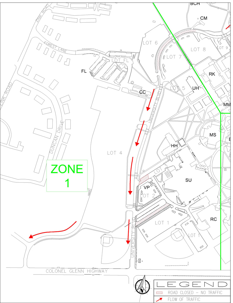 campus evacuation map-dayton campus zone 1