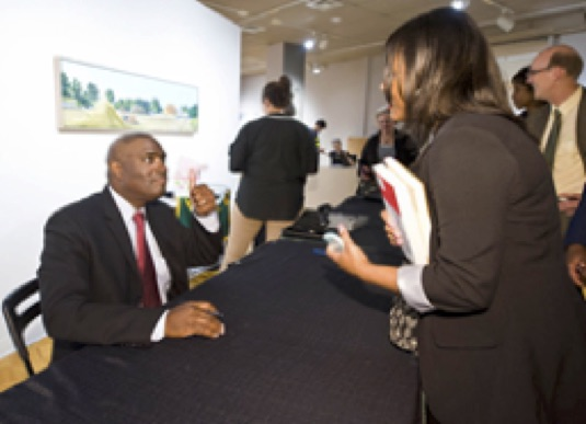 Antwone Fisher Reception, CAC Gallery, Summer 2014:  Antwone Fisher and Nautica Hereford, ISN Student