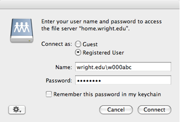 screen capture of the name and password window