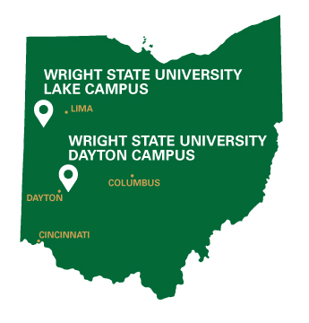 Wright State University's Dayton Campus in Fairborn is located 11.6 miles and 15 minutes east of downtown Dayton. Wright State U