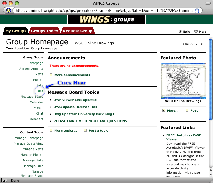 screenshot of wings member page