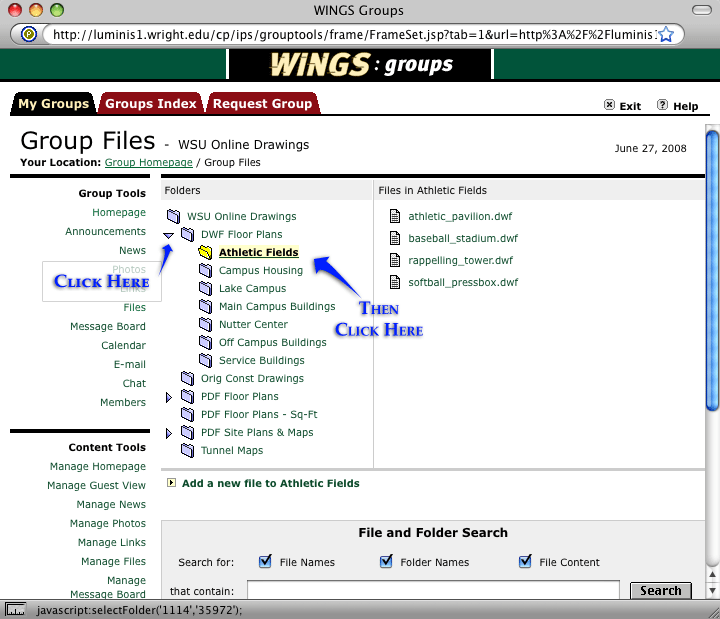 screenshot of the wings group page