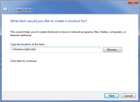 screen capture of the create shortcut window
