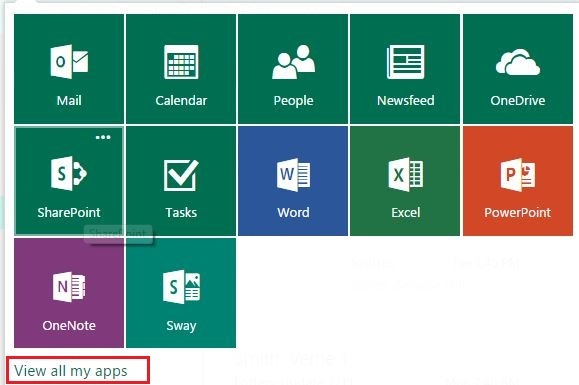 screen capture of the office365 applications grid