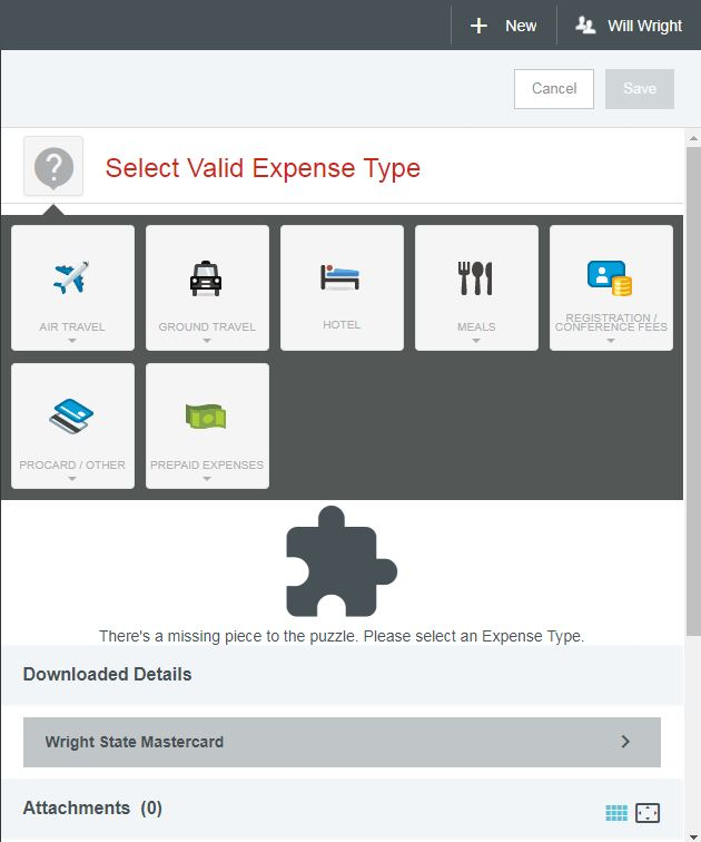 screenshot selecting expense type after credit card expense has been added