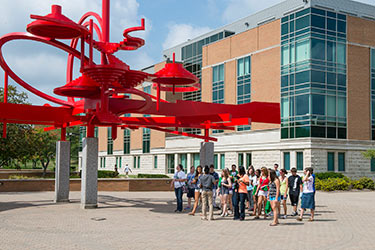 photo of a tour group on campus