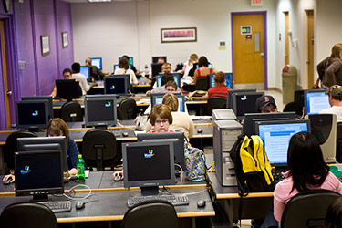 photo of people in a computer lab