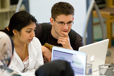 photo of a student getting support