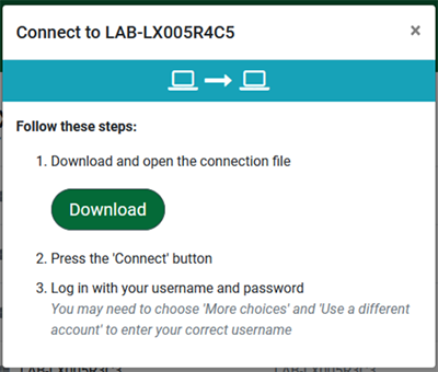 screen capture of the remote lab access connect to selected lab popup