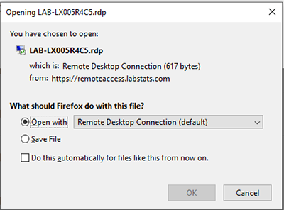 screen capture of the remote lab access open file popup