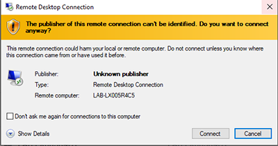 screen capture of the remote lab access warning before connecting popup