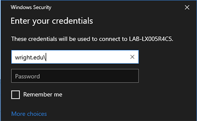 screen capture of the remote lab access enter credentials popup