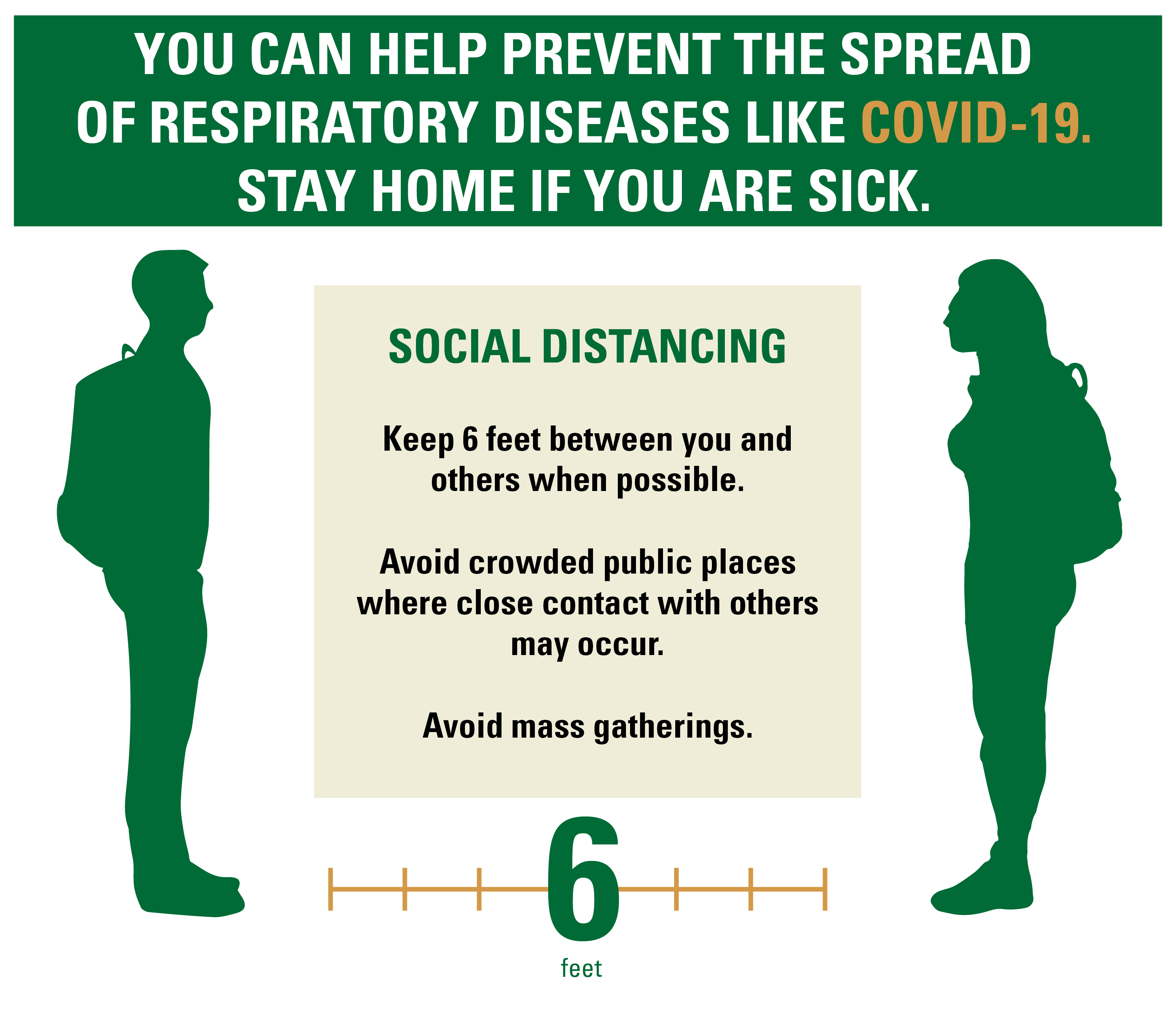 You can help prevent the spread of respiratory diseases like COVID-19. Social distancing, keep 6 foot between you and others when possible. Avoid croweded publis places were close contact with other may occur. Avoid mass gatherings