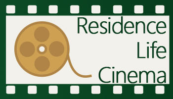 "Icon which says ""Resident Life Cinema"" with a movie film wheel beside it"