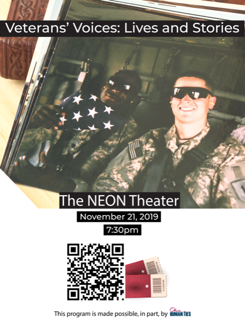Veterans' Voices: Lives and Stories promo picture and QR code