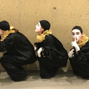 Three mimes in hiding