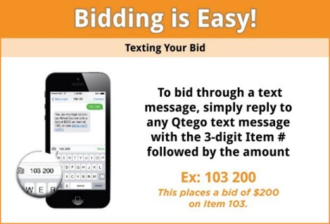 graphic that depicts how To bid through a text message, simply reply to any Qtego text message with the 3-digit Item # followed by the amount.  Example: 103 200 will place a bid of $200 on item 103.