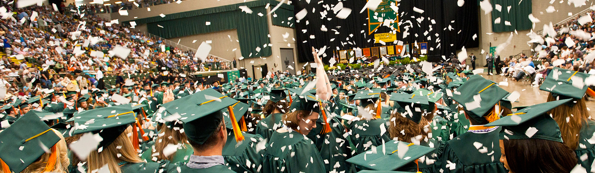Students celebrating graduation at Wright State