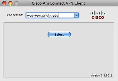 screen capture of the cisco anyconnect connect to window