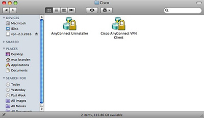screen capture of the cisco anyconnect icon on a mac desktop