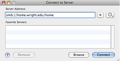 screen capture of the connect to server window on a mac