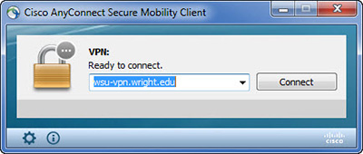 screen capture of the cisco anyconnect secure mobility client connect window
