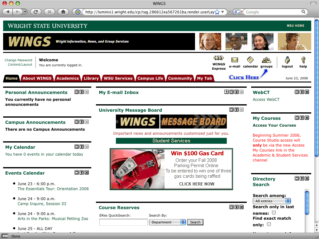 screenshot of the wings login page