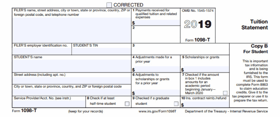 Sample blank IRS form 1098-T