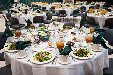 photo of tables set for a lunch in the student union