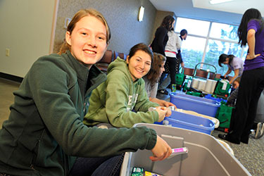 photo of students sorting donations