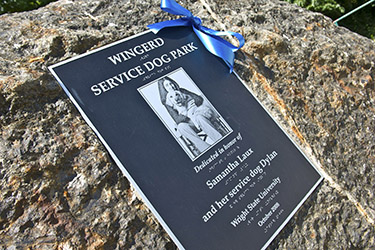 photo of the dedication plaque at the dog park