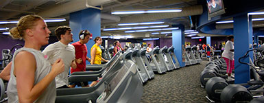 photo of students using treadmills in the fitness center