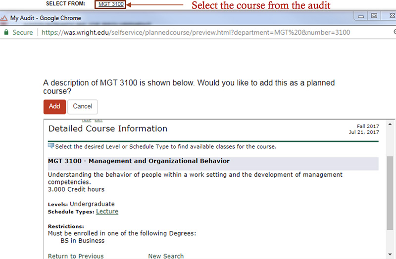 By selecting the courses displayed on the audit, you can view a course description.