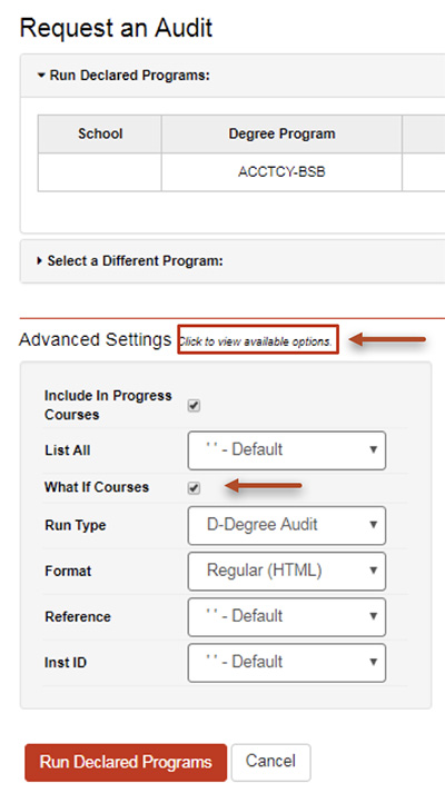 "Select the ""click here to view available options"" button next to Advanced Setting."