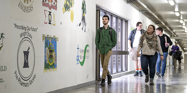 photo of students walking in the tunnels