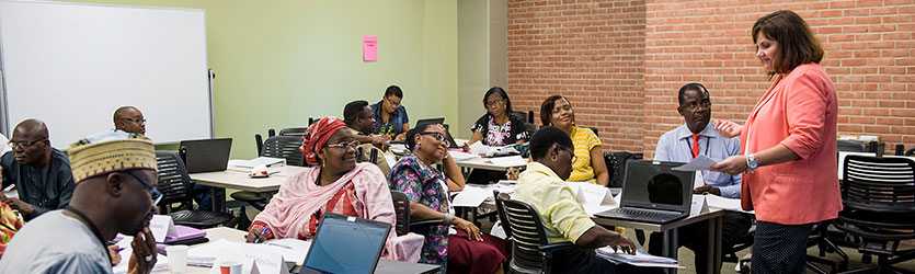 photo of nigerian educators in a wright state classroom