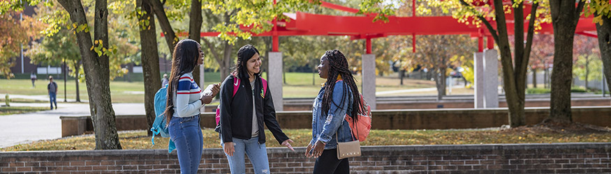 photo of three students standing and talking on campus