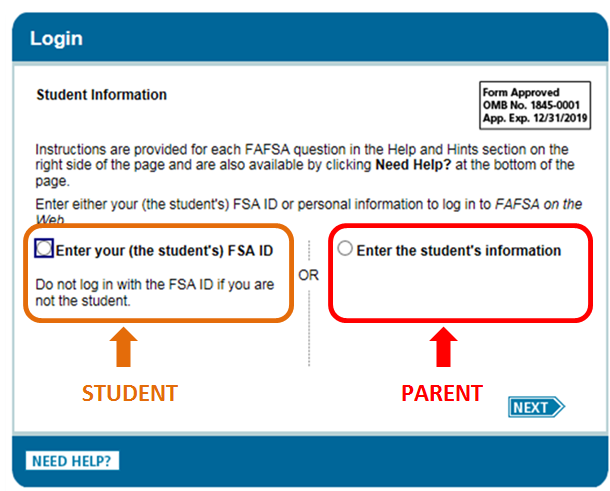 screen capture of login window with login are for student or parent