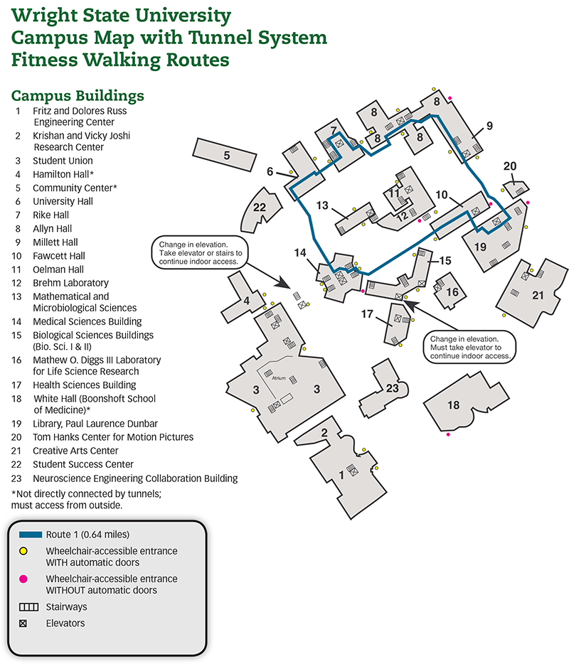 Wright State University Campus Map Tunnel Fitness Walking Routes | Campus Recreation | Wright State