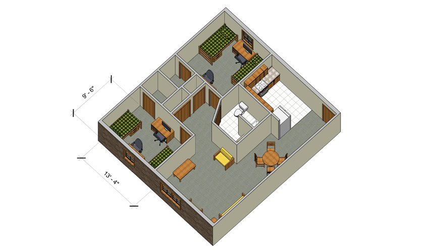 rendering of a Forest Lane quad apartment with furniture